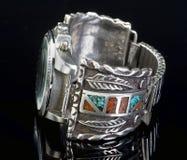 Polsino d'argento dell'orologio Fotografia Stock Libera da Diritti