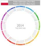 Polsk 2014 cirklar kalendern Måndag-Sun Arkivfoto