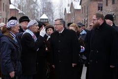 Polsk 'aw Komorowski, för president BronisÅ årsdag 7oth av befrielsen på den Nazi German concentractionen Royaltyfri Fotografi