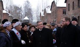 Polsk 'aw Komorowski, 70th årsdag för president BronisÅ av befrielsen på den Nazi German concentractionen Arkivfoton