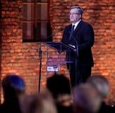 Polsk 'aw Komorowski, 70th årsdag för president BronisÅ av befrielsen på den Nazi German concentractionen Arkivbild