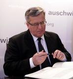 Polsk 'aw Komorowski, 70th årsdag för president BronisÅ av befrielsen på den Nazi German concentractionen Arkivfoto
