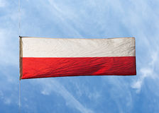 Polsk flagga i vinden mot en himmel Royaltyfria Foton
