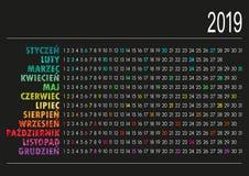 Polsk kalender 2019 Arkivbild