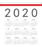 Polsk kalender för 2020 år för fyrkant vektor royaltyfri illustrationer