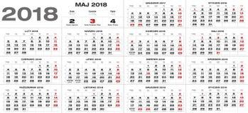 Polsk kalender för 2018 Royaltyfria Bilder