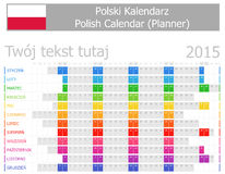 Polsk kalender för stadsplanerare 2015 med horisontalmånader Arkivfoto