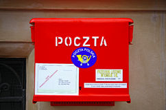 Polsk National Post röd brevlåda Arkivbilder
