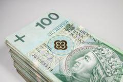 Polsk zloty för valuta 100 Arkivfoton