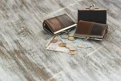 Polsk zloty med små plånböcker på den gamla träbakgrunden royaltyfria bilder