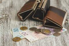 Polsk zloty med små plånböcker på den gamla träbakgrunden royaltyfri fotografi