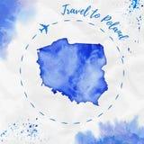 Polska akwareli mapa w błękitnych kolorach Fotografia Royalty Free