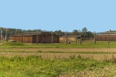 Polska auschwitz 19-September 2018 widok elektryczne sekretarki nazistowski koncentracyjny obóz Auschwitz i koszary fotografia royalty free