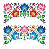 Polska blom- folk broderimodeller för kort stock illustrationer