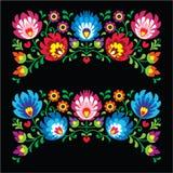 Polska blom- folk broderimodeller för kort på svart - Wzory Lowickie royaltyfri illustrationer