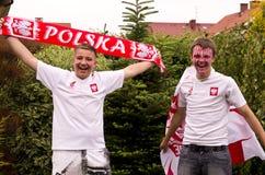 Polska fotbollfans arkivbild