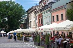 POLSKA KRAKOW, MAJ, - 27, 2016: W centre ulicach Kazimierz Żydowski okręg Krakow Zdjęcia Stock