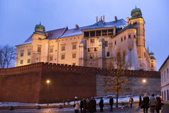 POLSKA KRAKOW, STYCZEŃ, - 01, 2015: Sławny średniowieczny Wawel kasztel w Krakow Obrazy Stock
