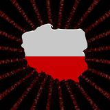 Polska mapy flaga na czerwonej hex kodu wybuchu ilustraci Fotografia Stock
