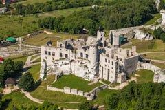 POLSKA, OGRODZIENIEC - CZERWIEC 07, 2014: widok z lotu ptaka kasztel Obraz Royalty Free