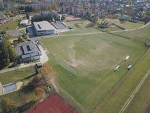 Polska Panorama van de stad van een mening van het vogel` s oog Panoramisch beeld van quadrocopter of hommel Plaats van de portie stock fotografie