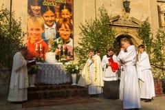 POLSKA - Podczas świętowania uczta Corpus Christi (ciało Chrystus) Zdjęcie Stock