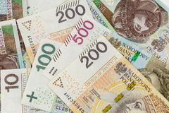 Polska sedlar zloty 100, 200 och 500 Royaltyfri Fotografi