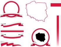 Polska sztandaru set Fotografia Royalty Free