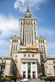 08 Polska, Warszawa - 05 2015 - historycznego budynku kultury pałac wierza wejściowy zegar Zdjęcie Stock
