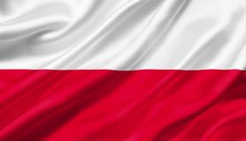 Polska zaznacza falowanie z wiatrem, 3D ilustracja obrazy stock