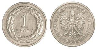 1 polska Zlotymynt Arkivfoton