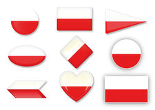 Polski flaga set Obrazy Stock