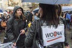 Polski kobieta strajk przeciw aborcja zakazowi Obrazy Royalty Free