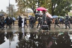 Polski kobieta strajk przeciw aborcja zakazowi Fotografia Royalty Free