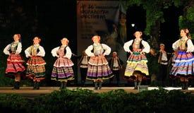 Polski kobieta tradycyjnego tana sceny występ fotografia royalty free