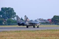 Polski Mig-29 pilotujący Cpt Adrian Rojek na Radomskim Airshow, Polska Zdjęcia Stock