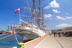Polski morski muzealny statek Dar Pomorze przy morzem bałtyckim Obrazy Stock