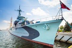 Polski niszczyciela statek przy morzem bałtyckim w Gdynia Fotografia Royalty Free