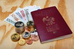 Polski paszporta i euro pieniądze Fotografia Royalty Free