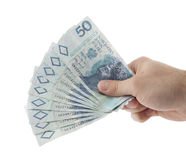 Polski pieniądze w ręce. Zdjęcie Stock