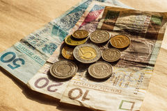 Polski pieniądze monet i banknotów odgórny widok Obraz Royalty Free