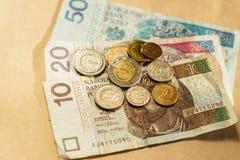 Polski pieniądze monet i banknotów odgórny widok Obrazy Royalty Free