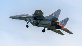Polski siły powietrzne MIG-29 Dżetowy samolot Zdjęcie Stock