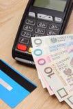 Polski waluta pieniądze i kredytowa karta z płatniczym terminal w tle, finansowy pojęcie Zdjęcia Royalty Free