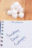 Polski wpisowy Światowy cukrzyca dzień w notatnika i cukieru sześcianach, symbol cukrzyk obraz royalty free