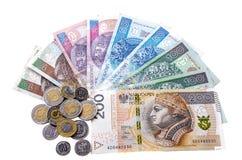 Polski zÅ 'oty i monety na białym tle Obraz Stock