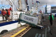 Polskt fängelse Fryderyk Chopin Landgång med namnet av skeppet arkivfoton