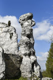 Polskt Jurassic vaggar på en kulle i den Jura krakowskoczestochowskaen, Ogrodzieniec Royaltyfria Foton