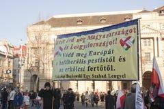 Polskt sympatislag av den ungerska regeringen Fotografering för Bildbyråer