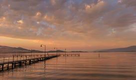 Polson湖在蒙大拿 库存图片